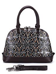 baratos -sacos de mulheres padrão de tote de couro napa / impressão prata / amarelo