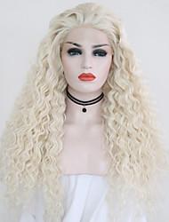 Недорогие -Синтетические кружевные передние парики Кудрявый Блондинка Свободная часть Платиновый блондин Искусственные волосы 24 дюймовый Жен. Регулируется / Жаропрочная / Для вечеринок Блондинка Парик Длинные