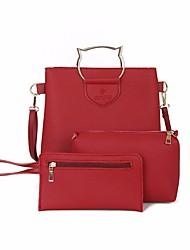 baratos -Mulheres Bolsas PU Conjuntos de saco 3 Pcs Purse Set Côr Sólida Rosa / Marron / Cinzento Claro