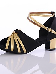 baratos -Mulheres Sapatos de Dança Latina Cetim / Couro Envernizado Salto Recortes Salto Grosso Personalizável Sapatos de Dança Preto