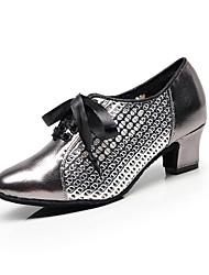 olcso -Női Modern cipők PU Szandál Kubai sarok Személyre szabható Dance Shoes Fekete / Sötétszürke