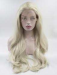 Недорогие -Синтетические кружевные передние парики Жен. Волнистый / Естественные кудри Блондинка Свободная часть 180% Человека Плотность волос Искусственные волосы 18-26 дюймовый / Лента спереди / Жаропрочная