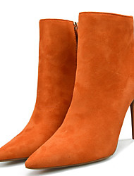 Недорогие -Жен. Fashion Boots Искусственный мех Зима Минимализм Ботинки На шпильке Заостренный носок Ботинки Оранжевый / Верблюжий / Вино / Для вечеринки / ужина