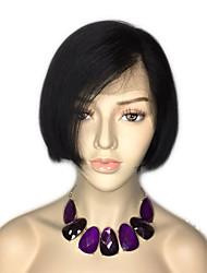 Недорогие -Натуральные волосы Лента спереди Парик Бразильские волосы Бирманские волосы Прямой Природа Черный Парик Стрижка боб 130% Плотность волос / с детскими волосами / с детскими волосами