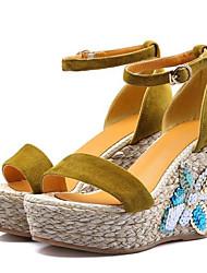 cbaf6d9d1f Women's Comfort Shoes PU(Polyurethane) Summer Sandals Wedge Heel Black /  Yellow / Green