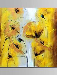 זול -ציור שמן צבוע-Hang מצויר ביד - פרחוני / בוטני מודרני בַּד