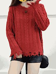 Недорогие -Жен. Повседневные Однотонный Длинный рукав Свободный силуэт Обычный Пуловер Черный / Оранжевый / Желтый Один размер