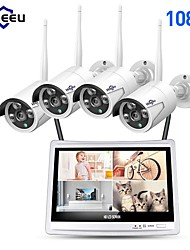 "cheap -Hiseeu® 4CH 1080P Wireless NVR Kits 12"" LCD display HD outdoor security 2MP IP Camera video surveillance wifi cctv camera system"