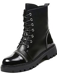 Недорогие -Жен. Армейские ботинки Полиуретан Осень Минимализм Ботинки На толстом каблуке Круглый носок Сапоги до середины икры Черный