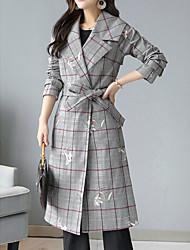 お買い得  -女性の長いコート - 千鳥格子
