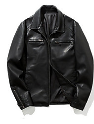 Недорогие -Муж. Повседневные Обычная Кожаные куртки, Однотонный Отложной Длинный рукав Полиуретановая Черный XL / XXL / XXXL