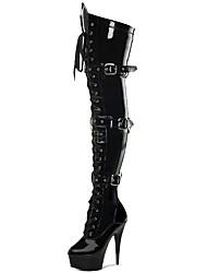 Недорогие -Жен. Fashion Boots Полиуретан Зима Классика Ботинки На шпильке Круглый носок Сапоги выше колена Пряжки Черный / Серый / Для вечеринки / ужина
