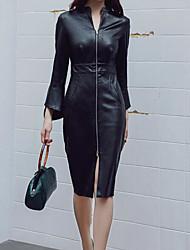 Недорогие -женский выход / клубное платье для тонкой оболочки длиной до колена v шея