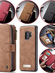 Недорогие -Кейс для Назначение SSamsung Galaxy S9 / S9 Plus / S8 Plus Кошелек / Бумажник для карт / Защита от удара Чехол Однотонный Твердый Настоящая кожа