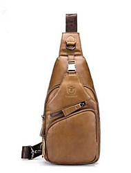 Недорогие -мужские сумки наппа кожаный ремень сумка на молнии черный / желтый / кофе