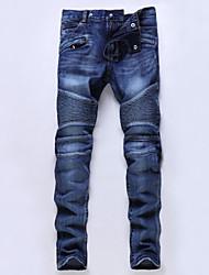 Недорогие -брюки мужские хлопчатобумажные тонкие джинсовые - сплошные цветные