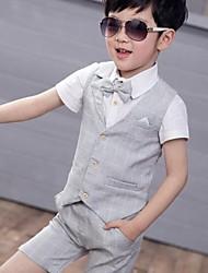 Недорогие -Дети Мальчики Классический С принтом С короткими рукавами Хлопок / Полиэстер Набор одежды Розовый