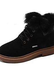 Недорогие -Жен. Fashion Boots Замша Зима На каждый день Ботинки На плоской подошве Круглый носок Ботинки Черный / Бежевый / Коричневый