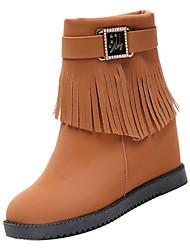 Недорогие -Жен. Комфортная обувь Полиуретан Осень На каждый день Ботинки На плоской подошве Круглый носок Ботинки Черный / Темно-русый