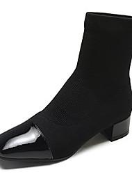 Недорогие -Жен. Fashion Boots Полиуретан Зима Ботинки На низком каблуке Сапоги до середины икры Черный / Коричневый / Хаки