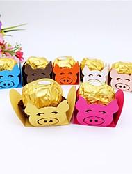 abordables -Cubique Papier d'art Titulaire de Faveur avec Motif floral perlé & dispersé / Combinaison Boîtes Cadeaux - 50pcs