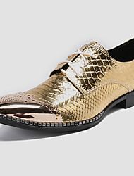 cheap -Men's Novelty Shoes Nappa Leather Spring / Fall Casual / British Oxfords Non-slipping Gold / Wedding / Party & Evening
