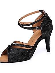 Недорогие -Жен. Танцевальная обувь Сатин Обувь для латины Стразы На каблуках Тонкий высокий каблук Черный / Выступление / Тренировочные