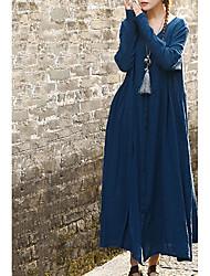 Недорогие -женский плюс размер пляж хлопок свободный фигурист платье высокая талия maxi v шея