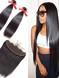 Недорогие -3 комплекта с закрытием Бразильские волосы Прямой 8A Натуральные волосы One Pack Solution Накладки из натуральных волос Волосы Уток с закрытием 8-22 дюймовый Естественный цвет Ткет человеческих волос