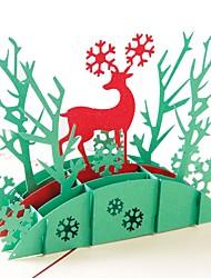 Недорогие -Спасибо карты Картон Свадебные украшения Рождество / Вечеринка / ужин Новогодняя тематика / Олень / Креатив Все сезоны