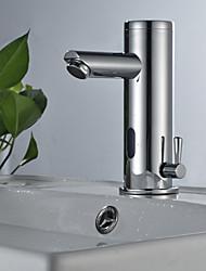 Недорогие -Ванная раковина кран - Датчик Хром Свободно стоящий Руки свободно одно отверстие
