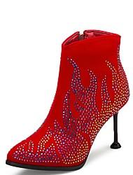 billige -Dame Fashion Boots Ruskind Efterår vinter Vintage Støvler Stilethæle Spidstå Ankelstøvler Glimtende glitter Sort / Mørkerød / Bryllup / Fest / aften