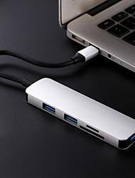 Недорогие -5 USB-концентратор USB 3.1 Type C USB 3.1 Type C Ultra Slim / OTG / Играть с Apple Logo Центр данных