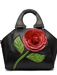 Недорогие -Жен. Мешки PU Сумка-шоппер Цветы Сплошной цвет Лиловый / Пурпурный / Тёмно-синий