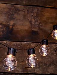 Недорогие -1m Гирлянды 10 светодиоды Тёплый белый Работает от солнечной энергии / Декоративная Солнечная энергия 1 комплект