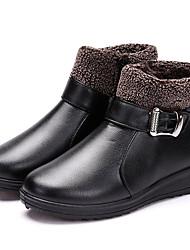 Недорогие -Жен. Fashion Boots Полиуретан Осень На каждый день Ботинки Туфли на танкетке Круглый носок Сапоги до середины икры Черный / Темно-коричневый / Вино