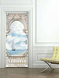 Недорогие -Дверные наклейки - 3D наклейки Пейзаж / Море Гостиная / Спальня