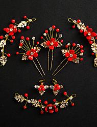 billiga -Dam Vit Vintage Stil Smyckeset - Resin Gypsophila Etnisk Omfatta Hårnålar Pann-smycken Guld / Röd Till Bröllop Party