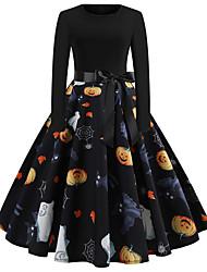 Недорогие -Платья Взрослые Жен. Винтаж Хэллоуин Хэллоуин Фестиваль / праздник Хлопко-полимерная смешанная ткань Черный Жен. Карнавальные костюмы