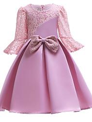 Недорогие -Дети Девочки Милая Однотонный С короткими рукавами Платье Розовый 110