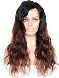 Недорогие -человеческие волосы Remy Лента спереди Парик Бразильские волосы Волнистый Черный Парик Глубокое разделение 150% Плотность волос Толстые Черный Жен. Длинные