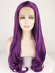 voordelige -Pruik Lace Front Synthetisch Haar BodyGolf / Diepe Golf Paars Gratis deel Paars 180% Human Hair Density Synthetisch haar 18-26 inch(es) Dames Verstelbaar / Hittebestendig / Elastisch Paars Pruik Lang