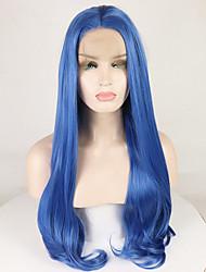 voordelige -Pruik Lace Front Synthetisch Haar BodyGolf / Diepe Golf Blauw Middelste stuk Blauw 180% Human Hair Density Synthetisch haar 18-26 inch(es) Dames Zacht / Glad / Verstelbaar Blauw Pruik Lang Kanten