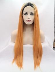 voordelige -Pruik Lace Front Synthetisch Haar KinkyRecht Goud Gelaagd kapsel Zwart en Gold 130% Human Hair Density Synthetisch haar 26 inch(es) Dames Dames Goud / Zwart Pruik Gemiddelde Lengte Kanten Voorkant
