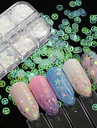 billige -12 pcs Pailletter Bedste kvalitet Kreativ Negle kunst Manicure Pedicure Festival Mode