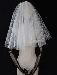 baratos -Quatro Camadas Estilo vintage / Inspiração Vintage Véus de Noiva Véu Cotovelo com Cor Única Tule