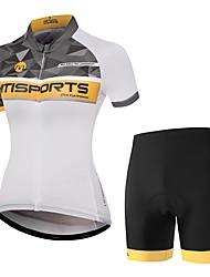 Недорогие -Жен. С короткими рукавами Велокофты и велошорты - Оранжевый + белый Велоспорт Наборы одежды, Быстровысыхающий Полиэстер В клетку / Эластичная