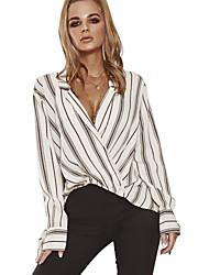 billige -kvinders bomuldsløs skjorte - stribet stativ