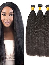 cheap -3 Bundles Yaki Straight 8A Human Hair Unprocessed Human Hair Headpiece Natural Color Hair Weaves / Hair Bulk Extension 8-28 inch Natural Color Human Hair Weaves Waterfall Cosplay Easy dressing Human