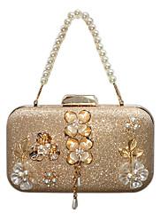 Недорогие -Жен. Мешки синтетика Вечерняя сумочка Кристаллы / Цветы Цветочные / ботанический Золотой